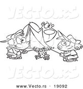 Vector of a Cartoon Bear Watching Camping Boys Roast Marshmallows - Outlined Coloring Page by Toonaday