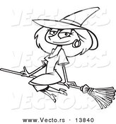 Vector of a Cartoon Beautiful Witch Sitting on Her Broomstick - Coloring Page Outline by Toonaday