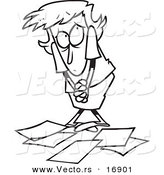 Vector of a Cartoon Berated Businesswoman Standing over Papers - Coloring Page Outline by Ron Leishman