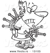 Vector of a Cartoon Betrayed Caesar Stabbed with Swords on the Ides of March - Outlined Coloring Page by Toonaday