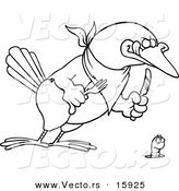 Vector of a Cartoon Big Bird Ready to Dine on a Worm - Outlined Coloring Page Drawing by Toonaday