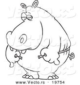 Vector of a Cartoon Big Hippo Measuring His Waist with a Short Tape - Outlined Coloring Page by Toonaday
