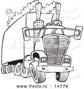 Vector of a Cartoon Big Rig Releasing a Lot of Exhaust - Coloring Page Outline by Toonaday