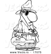 Vector of a Cartoon Bill Collector Carrying a Violin Case - Coloring Page Outline by Toonaday