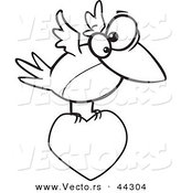 Vector of a Cartoon Bird Flying with a Love Heart - Coloring Page Outline by Toonaday