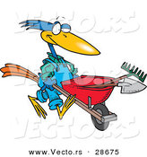 Vector of a Cartoon Bird Pushing a Wheel Barrow with Landscaping Gardener Tools by Toonaday