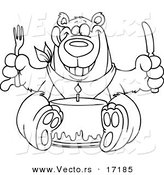 Vector of a Cartoon Birthday Bear Eating Cake - Coloring Page Outline by Toonaday