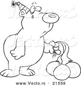 Vector of a Cartoon Birthday Bear with Deflating Balloons - Outlined Coloring Page by Toonaday