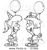 Vector of a Cartoon Birthday Boy and Girl with Balloons - Outlined Coloring Page by Toonaday