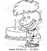 Vector of a Cartoon Birthday Boy Eating an Entire Cake - Coloring Page Outline by Toonaday