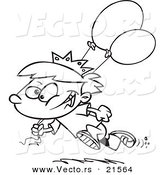 Vector of a Cartoon Birthday Boy Running with Balloons - Outlined Coloring Page by Toonaday
