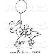 Vector of a Cartoon Birthday Cat Floating with a Party Balloon - Outlined Coloring Page by Ron Leishman