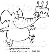 Vector of a Cartoon Birthday Elephant Carrying a Cake - Coloring Page Outline by Toonaday