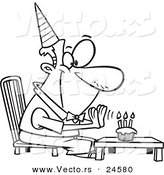 Vector of a Cartoon Birthday Man Seated Before His Cupcake - Outlined Coloring Page by Toonaday