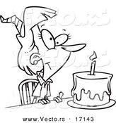 Vector of a Cartoon Birthday Woman with a Cake - Coloring Page Outline by Toonaday