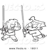 Vector of a Cartoon Black and White Outline Design of Boys Playing with Light Sabres - Outlined Coloring Page by Toonaday