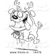 Vector of a Cartoon Black and White Outline Design of Christmas Bulldog Wearing Antlers - Outlined Coloring Page by Toonaday
