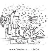 Vector of a Cartoon Black and White Outline Design of Diehard Fans Sitting in the Snow - Outlined Coloring Page by Toonaday
