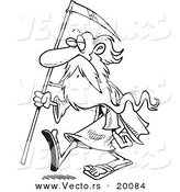 Vector of a Cartoon Black and White Outline Design of Father Time Carrying a Scythe - Outlined Coloring Page by Toonaday