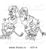 Vector of a Cartoon Black and White Outline Design of Fighting Hockey Players - Outlined Coloring Page by Toonaday
