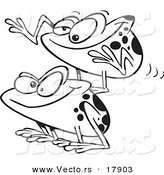 Vector of a Cartoon Black and White Outline Design of Frogs Playing Leap Frog - Outlined Coloring Page by Toonaday