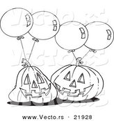 Vector of a Cartoon Black and White Outline Design of Jackolanterns and Party Balloons - Outlined Coloring Page by Toonaday