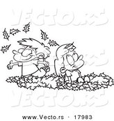 Vector of a Cartoon Black and White Outline Design of Kids Playing in Leaves - Outlined Coloring Page by Toonaday