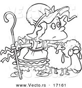 Vector of a Cartoon Black and White Outline Design of Little Bo Peep with a Sheep - Coloring Page Outline by Toonaday