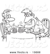 Vector of a Cartoon Black and White Outline Design of Men Having a Drink - Outlined Coloring Page by Ron Leishman