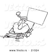 Vector of a Cartoon Black and White Outline Design of Santa Carrying a Blank Sign - Outlined Coloring Page by Toonaday