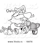 Vector of a Cartoon Black and White Outline Design of Santa Driving a Hot Rod - Outlined Coloring Page by Toonaday