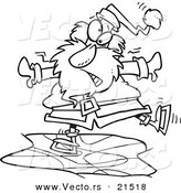 Vector of a Cartoon Black and White Outline Design of Santa Ice Skating - Outlined Coloring Page by Toonaday