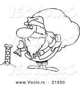 Vector of a Cartoon Black and White Outline Design of Santa Inspecting a Tiny Chimney - Outlined Coloring Page by Toonaday