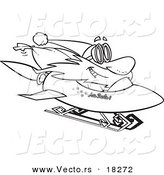 Vector of a Cartoon Black and White Outline Design of Santa on a Rocket Sled - Outlined Coloring Page by Toonaday