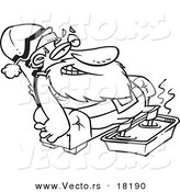 Vector of a Cartoon Black and White Outline Design of Santa Relaxing with a Foot Bath - Outlined Coloring Page by Toonaday