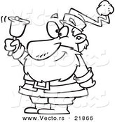 Vector of a Cartoon Black and White Outline Design of Santa Ringing a Bell - Outlined Coloring Page by Toonaday