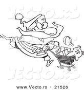 Vector of a Cartoon Black and White Outline Design of Santa Shopping - Outlined Coloring Page by Toonaday