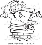 Vector of a Cartoon Black and White Outline Design of Santa Smiling in a Chimney - Coloring Page Outline by Toonaday