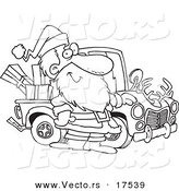 Vector of a Cartoon Black and White Outline Design of Santa Standing by His Redneck Truck - Coloring Page Outline by Toonaday