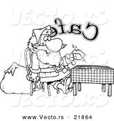 Vector of a Cartoon Black and White Outline Design of Santa Taking a Break in a Cafe - Outlined Coloring Page by Toonaday