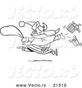 Vector of a Cartoon Black and White Outline Design of Santa Tossing Gifts - Outlined Coloring Page by Toonaday