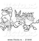 Vector of a Cartoon Black and White Outline Design of Santa Walking with a Donkey - Outlined Coloring Page by Toonaday