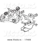 Vector of a Cartoon Black and White Outline Design of Spam Mail Shooting Towards a Man - Coloring Page Outline by Toonaday