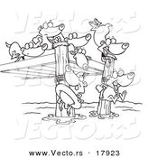 Vector of a Cartoon Black and White Outline Design of Swimming Lemmings - Outlined Coloring Page by Ron Leishman