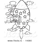 Vector of a Cartoon Black and White Outline Design of Uncle Sam Shooting Upwards on a Rocket - Coloring Page Outline by Toonaday