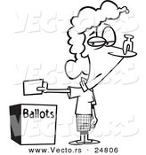 Vector of a Cartoon Black and White Outline Female Voter with a Nose Plug Putting Her Ballot in a Box - Outlined Coloring Page by Toonaday