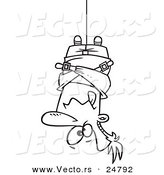 Vector of a Cartoon Black and White Outline Man Hung Upside down in a Straitjacket - Outlined Coloring Page by Toonaday