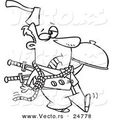 Vector of a Cartoon Black and White Outline Murder Mystery Server Man with an Axe in His Head and Knives in His Back - Outlined Coloring Page by Toonaday