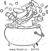 Vector of a Cartoon Black and White Outline St Patricks Leprechaun Playing in a Pot of Gold - Outlined Coloring Page by Toonaday