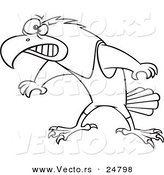 Vector of a Cartoon Black and White Outline Wrestler Hawk Ready to Fight - Outlined Coloring Page by Toonaday